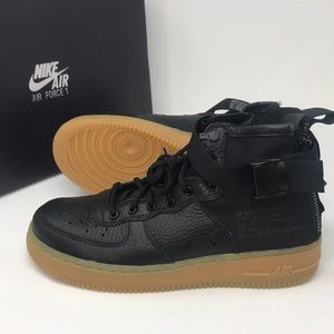 Nike SF AF1 Air Force 1 black gum bottoms
